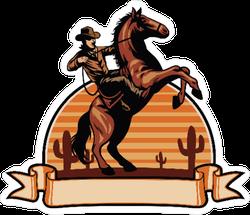 Cowboy on Horse Ribbon Sticker
