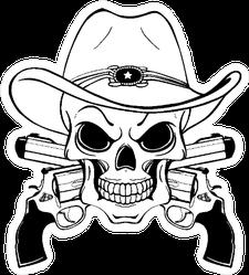 Cowboy Skull and Crossed Pistols Sticker
