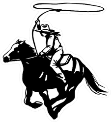Cowboy With Lasso On Horse Sticker
