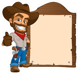Cowboy with Sign Sticker