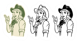 Cowgirl Illustration Sticker