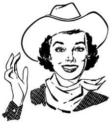Cowgirl Waving Sticker