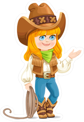 Cowgirl with Rope Sticker
