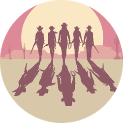Cowgirls Walking Towards A Sunset Sticker