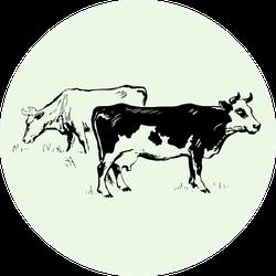 Cows On Green Illustration Sticker