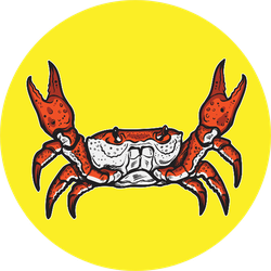 Crab And Abstract Design On Bright Yellow Sticker