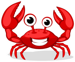 Crab Character Smiling With Big Claws On White Sticker