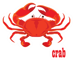 Crab  Design With Text Sticker