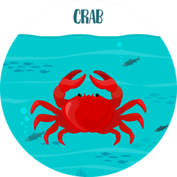 Crab In The Blue Water With Fish Sticker