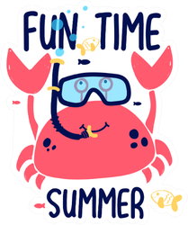 Crab Print Fun Time Summer Sticker