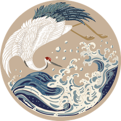 Crane And Japanese Wave Illustration In Circle Sticker