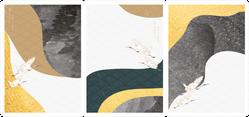 Crane Birds With Abstract Japanese Geometric Pattern Sticker