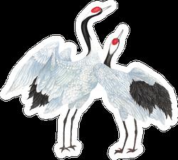 Crane Drawn Sketch And Watercolor Illustrations Sticker