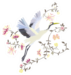 Crane, Embroidery Illustration Sticker