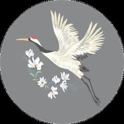 Crane, Illustration, Bird In Flight Design On Grey Sticker