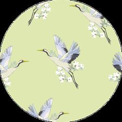 Crane, Pattern Illustration On Green Sticker