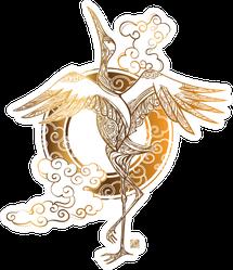 Crane Tattoo And Stylized Chinese Waves Gold Sticker