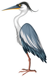 Crane With Gray Feather Illustration Sticker