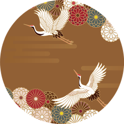 Cranes And Chrysanthemums Japanese Traditional Pattern Sticker