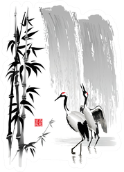 Cranes, Bamboo Stems On The Background Of A Waterfall Sticker