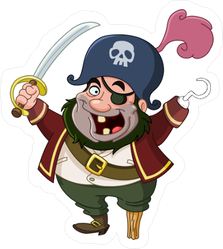 Crazy Cartoon Pirate Sticker
