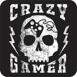 Crazy Gamer Skull Sticker