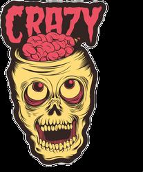 Crazy Skull Illustration Sticker
