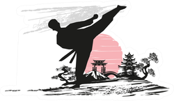 Creative Abstract Illustration Of Karate Fighter Sticker