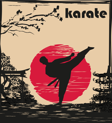 Creative Abstract Illustration Of Karate Fighter Scene Sticker
