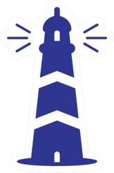 Creative Lighthouse In Blue Sticker