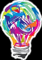 Creative Painting Colorful Lightbulb Sticker
