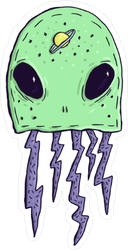Creepy Alien Squid Sticker