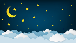 Crescent Moon Stars and Clouds Sticker