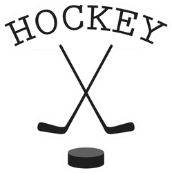 Crossed Hockey Sticks And Puck Hockey Sticker