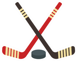 Crossed Hockey Sticks And Puck Icon Sticker