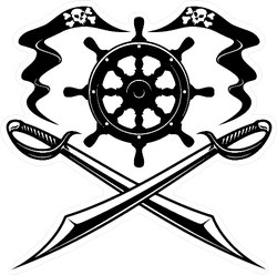 Crossed Swords Pirate Ship Sticker