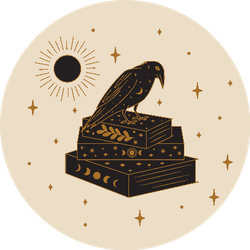 Crow And Magic Book Illustration Sticker