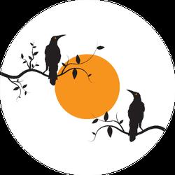 Crow Birds Couple Silhouettes On Branch On Sunset Illustration Sticker