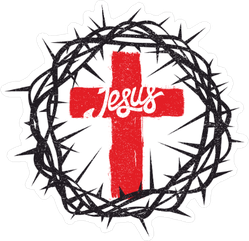Crown of Thorns and Cross Jesus Sticker