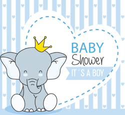 Crowned Baby Boy Elephant Sticker