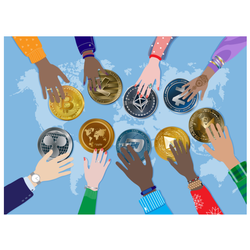 Crypto Currency Around the World Sticker