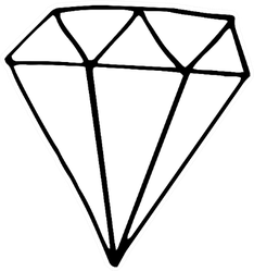 Crystal Icon, Diamond Shape Sketch Sticker