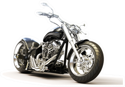 Custom Black Motorcycle On A White Background Sticker