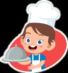 Cut Cartoon Chef Kid Sticker
