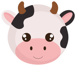 Cute And Little Cow Head Character Sticker
