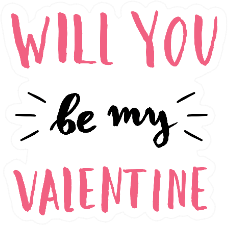 Cute And Modern Typographic Will You Be Mine Sticker