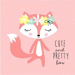 Cute And Pretty Fox With Floral Wreath Sticker