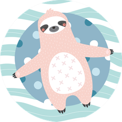 Cute And Relaxed Sloth On A Inflatable Circle Sticker