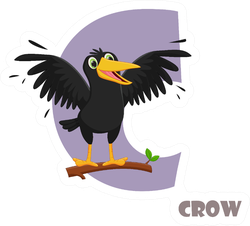 Cute Animal Zoo Alphabet Letter C For Crow Sticker