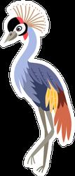 Cute Animals - Grey Crowned Crane Illustration Sticker